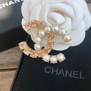 Chanel Crystal & Pearl CC Logo Brooch